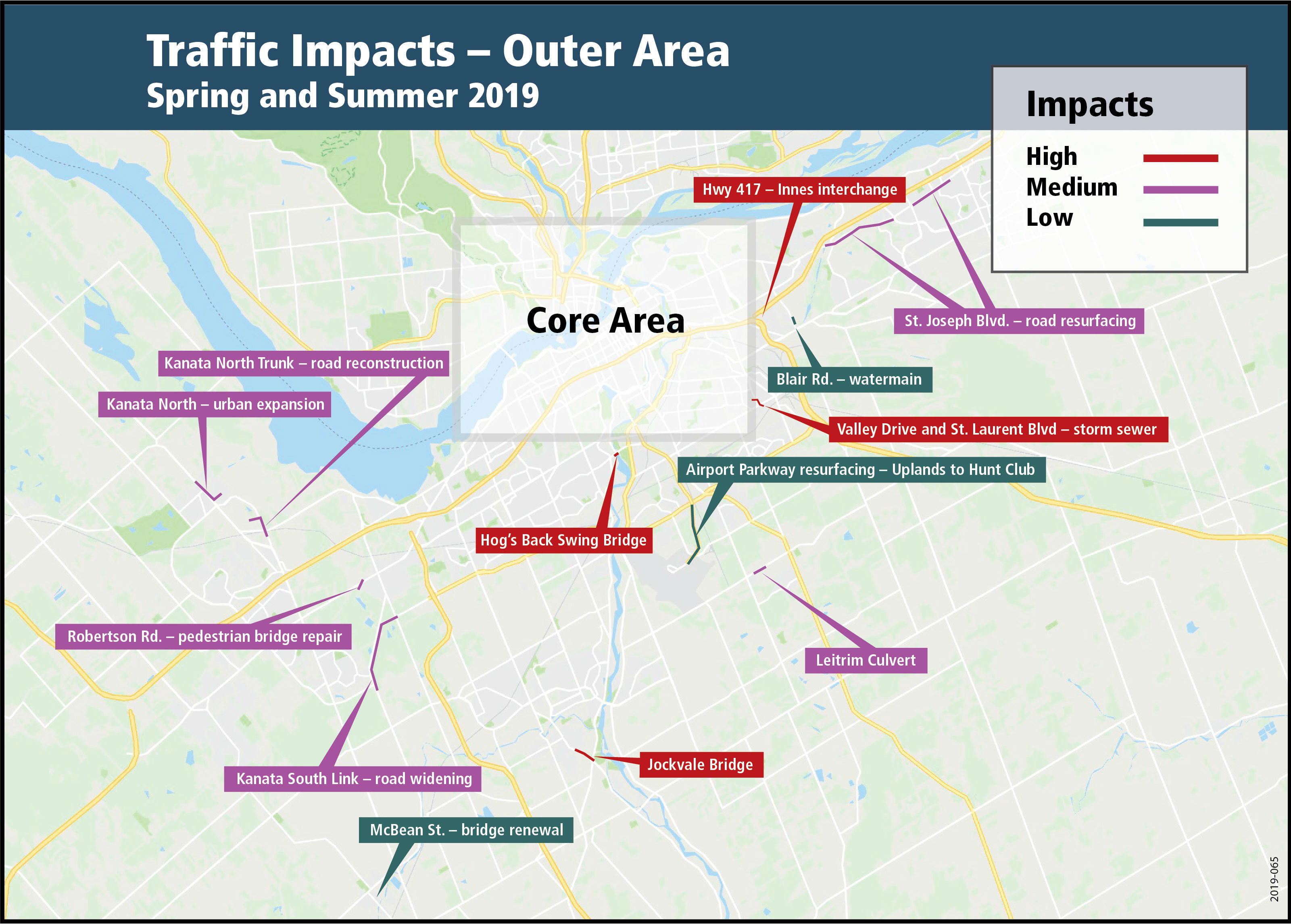 A map showing the low, medium and high traffic impacts for the spring/summer of 2019 as a result of construction work within the outer area of Ottawa.