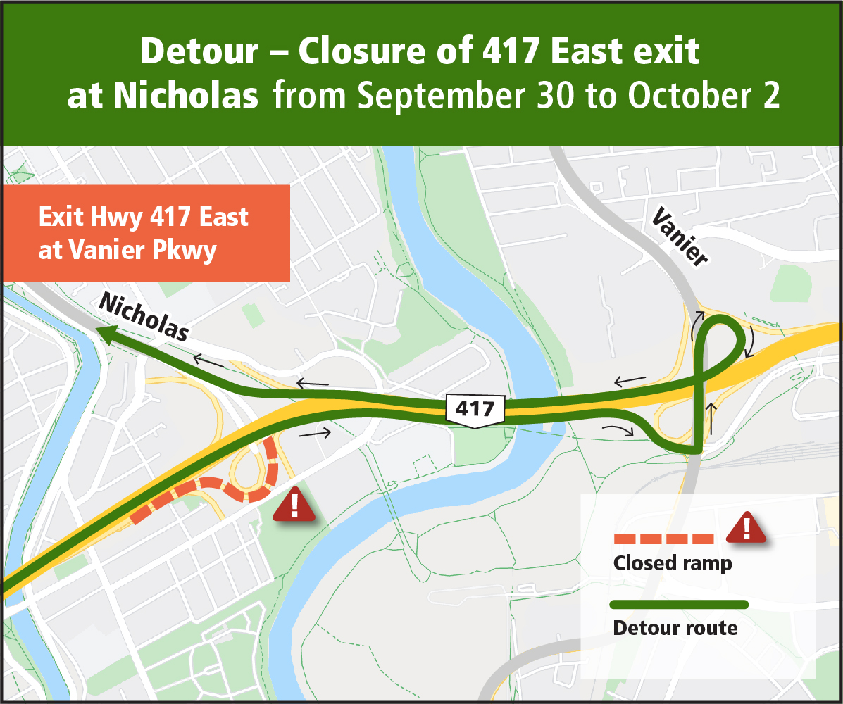 Vanier Parkway detour - Closure of Highway 417 East exit at Nicholas Street from September 30 to October 2