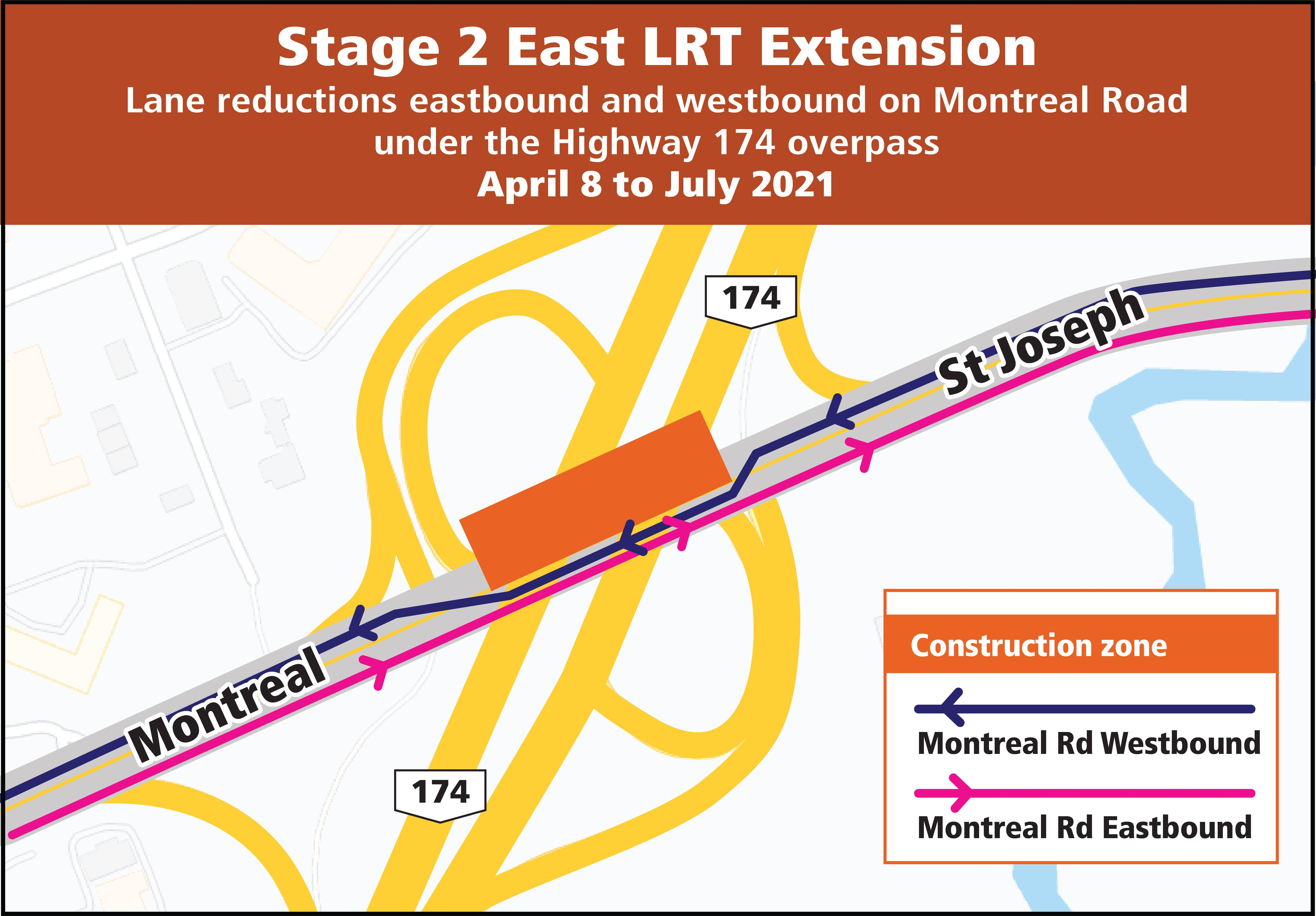 Lane reductions eastbound and westbound on Montreal Road under the Highway 174 overpass April 8 to July 2021