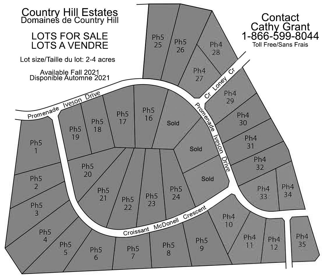 Country Hill estates - Lots for sale map. Contact for this development is Cathy Grant at 1-866-599-8044.