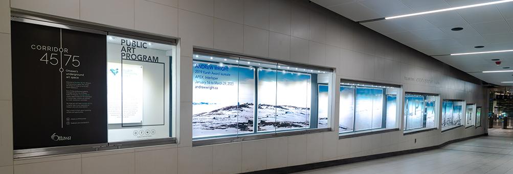installation view of Andrew Wright exhibit, APEX: Interloper/Intrus