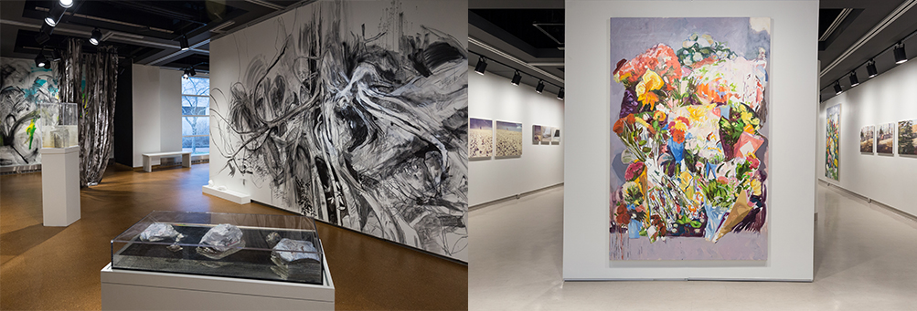 left image: mural and installation; right image: large painting