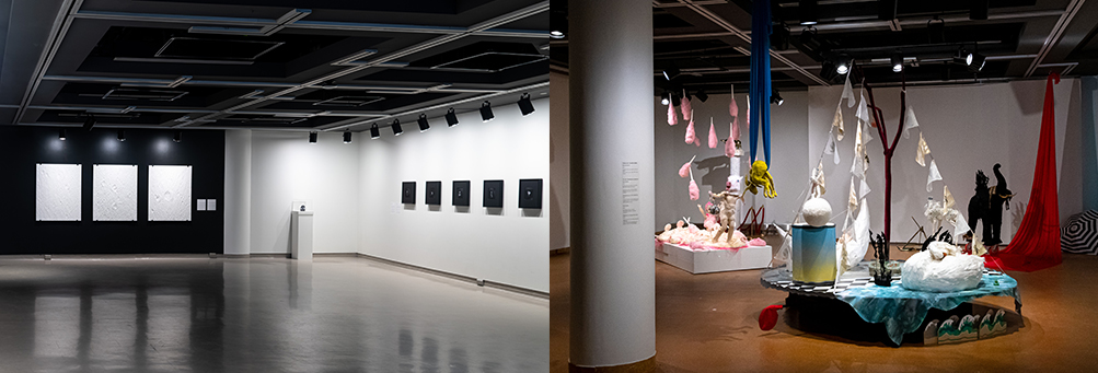 left image shows black and white 2D artwork hung on black and white gallery walls; right image shows a colorful installation of handmade animal sculptures propped up or hung in the space.