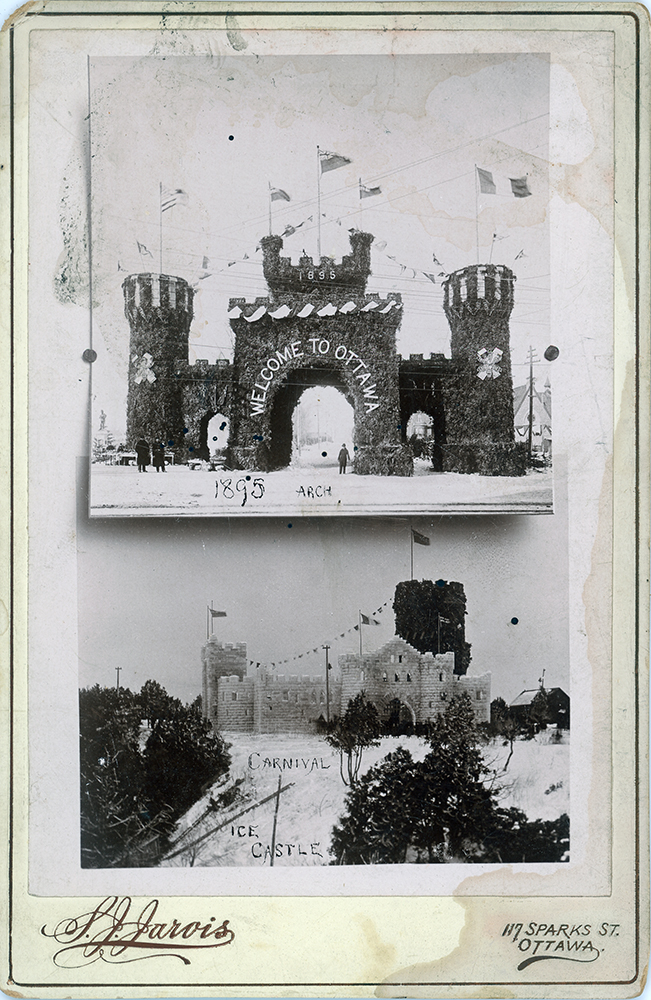 The Welcome arch and ice castle for the 1895 Winter Carnival, City of Ottawa Archives, CA024550