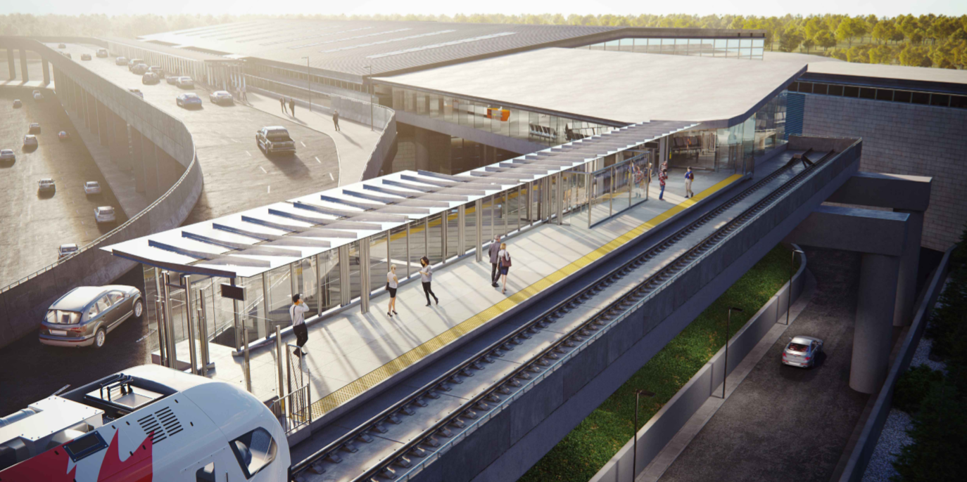 This image is an artistic representation of the Airport Station design. The final product may not be exactly as shown.