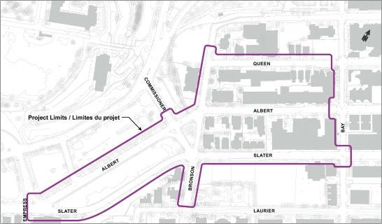 This is a map showing the project limits between Bay and Impress, between Queen and Laurier.
