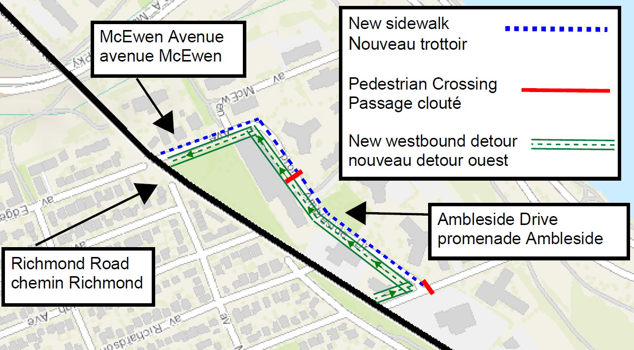 Map of Richmond Road area, demonstrating with green hashmarks the westbound detour via New Orchard, via Ambleside via McEwen. image also demonstrates 2 new pedestrian crossings at New Orchard/Ambleside and midblock on Ambleside.