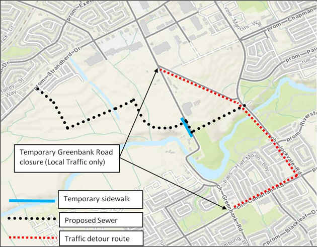 A map showing the location of the proposed sewer, temporary sidewalk and traffic detour route. Also shown is the location of the temporary Greenbank Road closure (local traffic only).