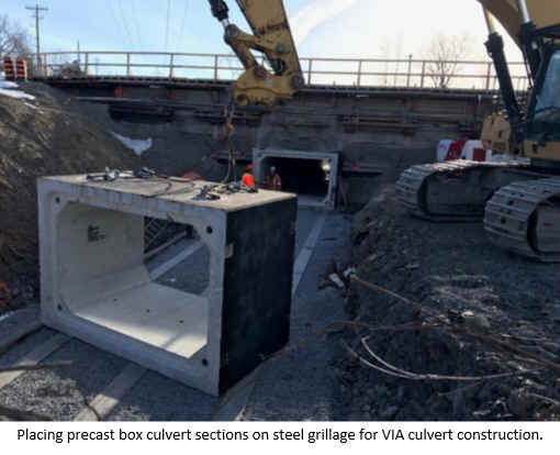 Placing precast box culvert sections on steel grillage for VIA culvert construction.