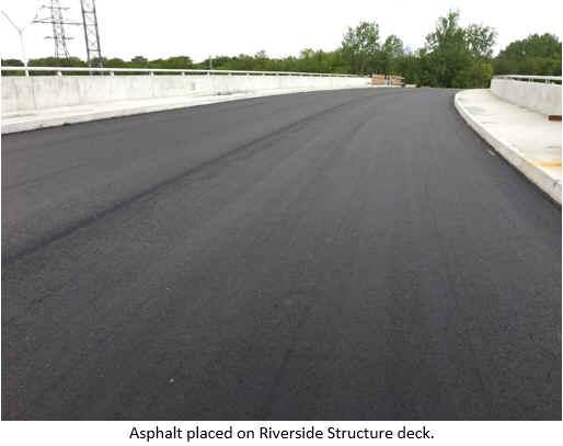 Asphalt placed on Riverside Structure deck.