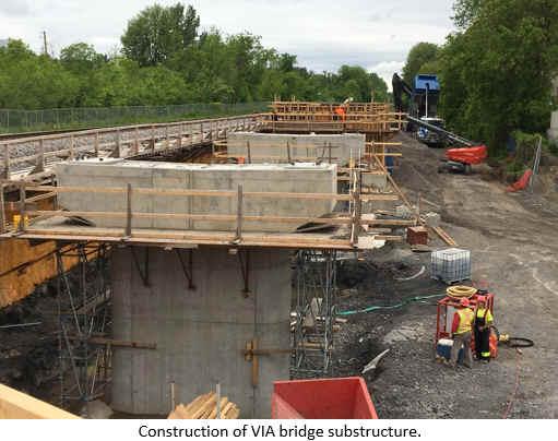 Construction of VIA bridge substructure.
