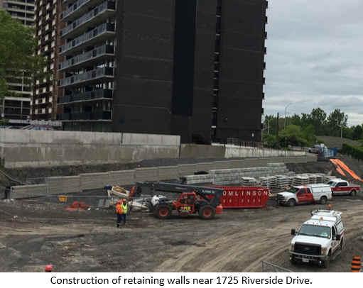Construction of retaining walls near 1725 Riverside Drive.