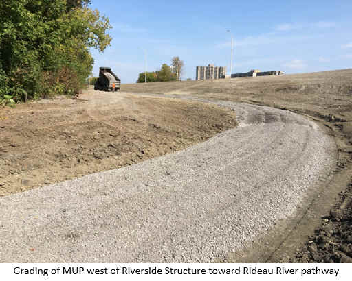 Grading of MUP west of Riverside Structure toward Rideau River pathway.