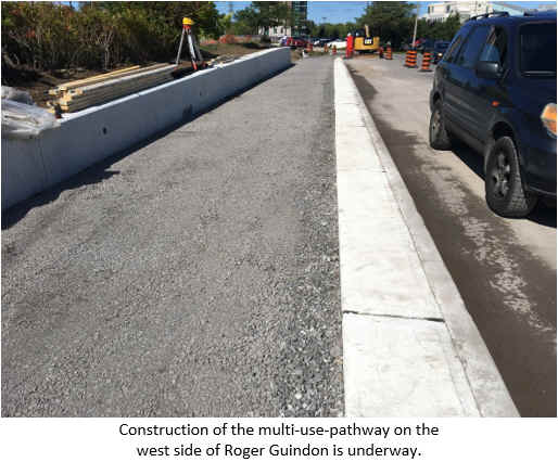 Construction of the multi-use-pathway on the west side of Roger Guindon is underway.