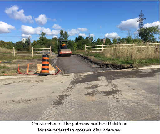 Construction of the pathway north of Link Road for the pedestrian crosswalk is underway.
