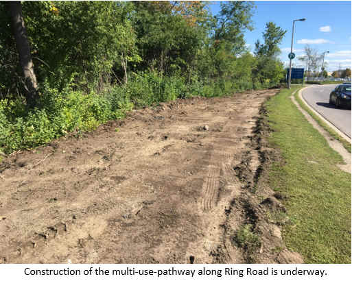 Construction of the multi-use-pathway along Ring Road is underway.