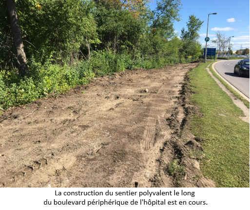 La construction du sentier polyvalent le long du boulevard périphérique de l'hôpital est en cours.