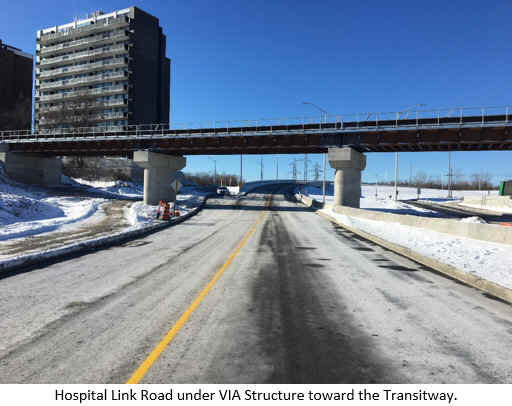 Hospital Link Road under VIA Structure toward the Transitway.