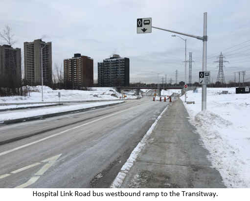 Hospital Link Road under VIA Structure.Hospital Link Road bus westbound ramp to the Transitway.