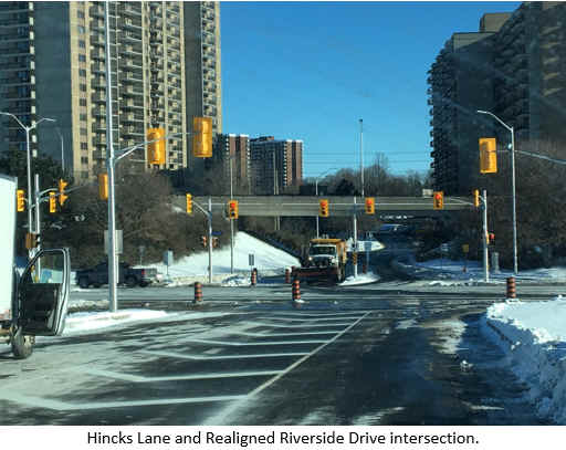 Hincks Lane and Realigned Riverside Drive intersection.
