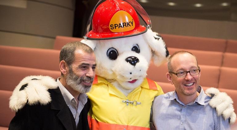 Ali Ballouck, Wayne Van Sickle and Sparky the Dog