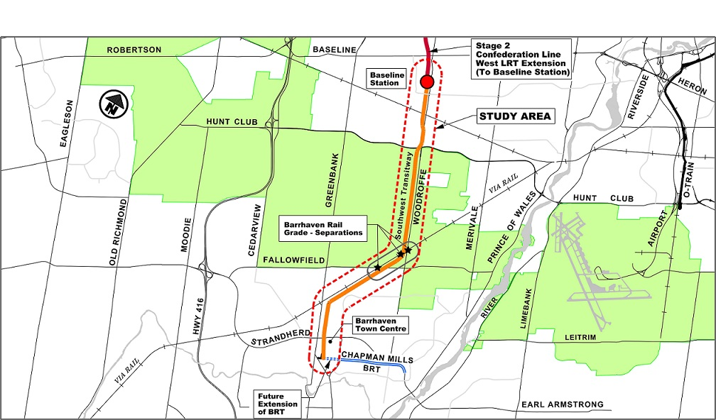 Barrhaven Light Rail Transit (Baseline Station to Barrhaven Town Centre) and Rail Grade-Separations Planning and Environmental Assessment Study - Study Area Map