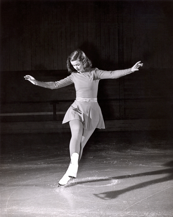 Barbara Ann Scott traces compulsory figures in the ice, 1947
