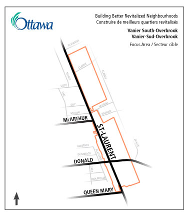 The Area of Focus are the properties fronting on St. Laurent Boulevard between McArthur Avenue and Queen Mary Street.