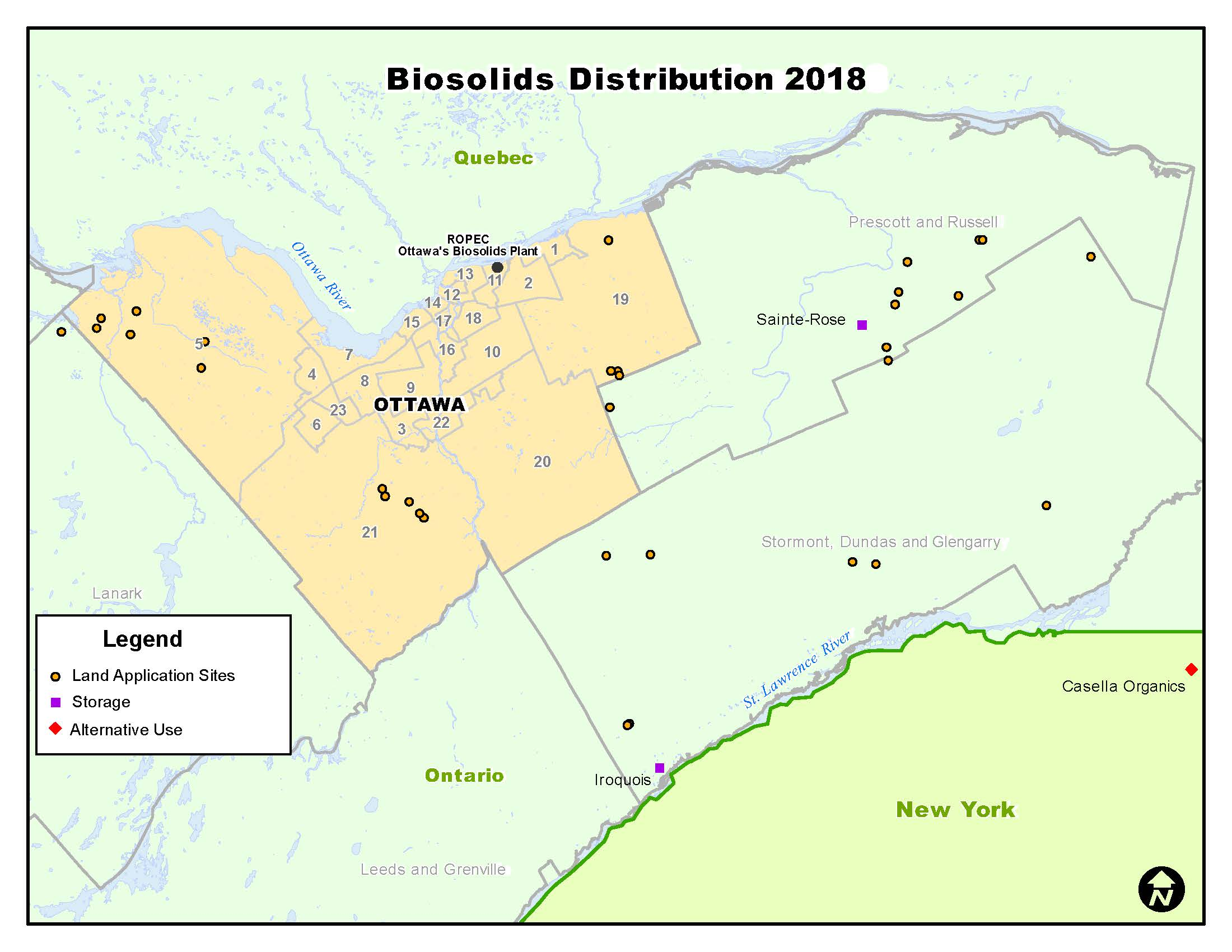 Map showing biosolids distribution in 2018
