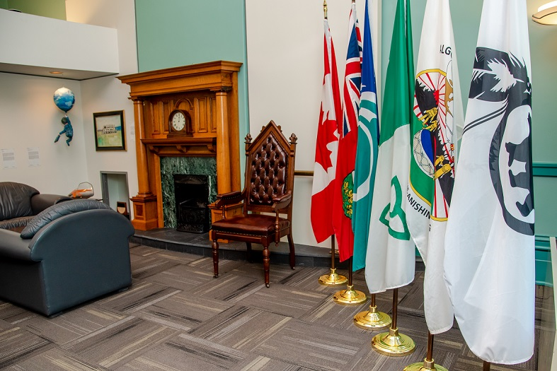Flags in the mayor's board room