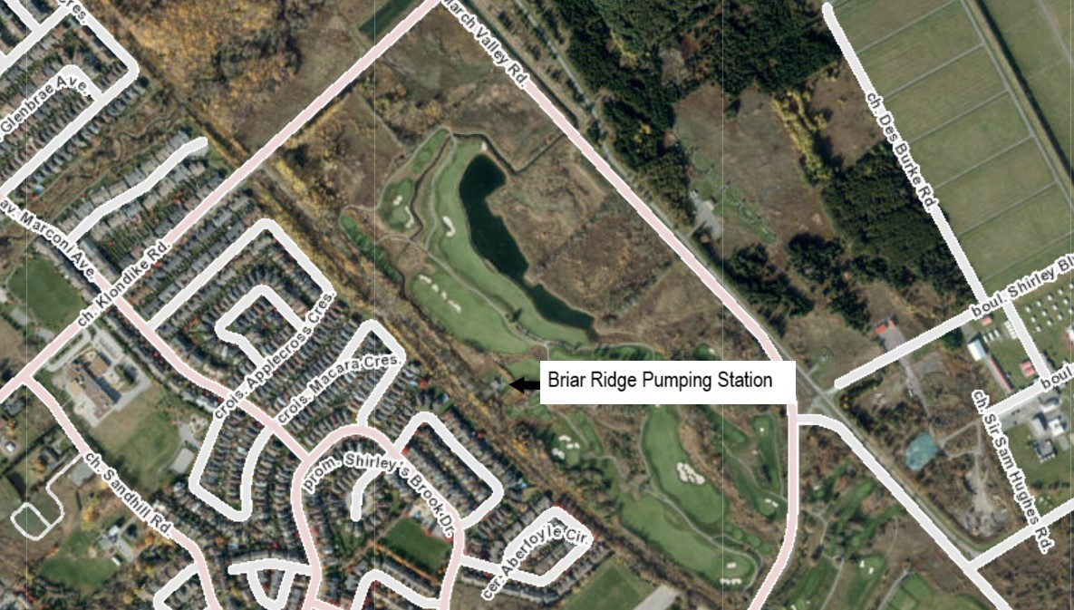 This is an image of a map showing the location of the Briar Ridge pumping station at 960 Klondike Road in North Kanata within Ward 4.