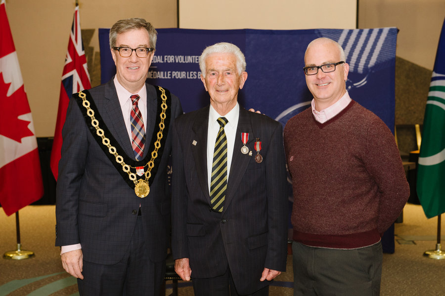 Keith Brown with Mayor Watson and Councillor Leiper