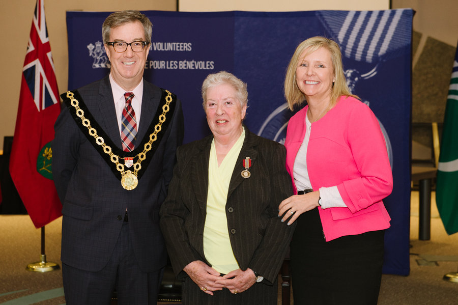 Sandra Bruff with Mayor Watson and Councillor Deans