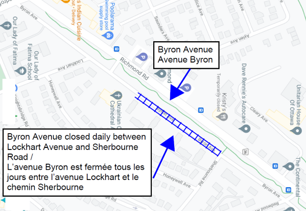 map of ricmond and Byron east of Woodroffe highlighting the closure of Byron between Sherbourne and just east of Ukrainian Church