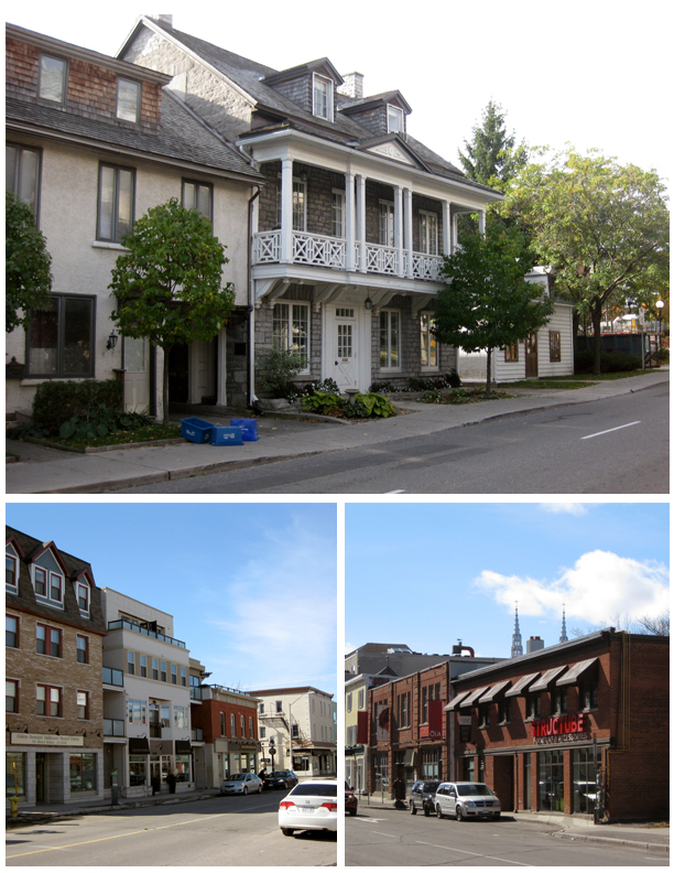 Low rise commercial and residential buildings in the ByWard Market HCD.