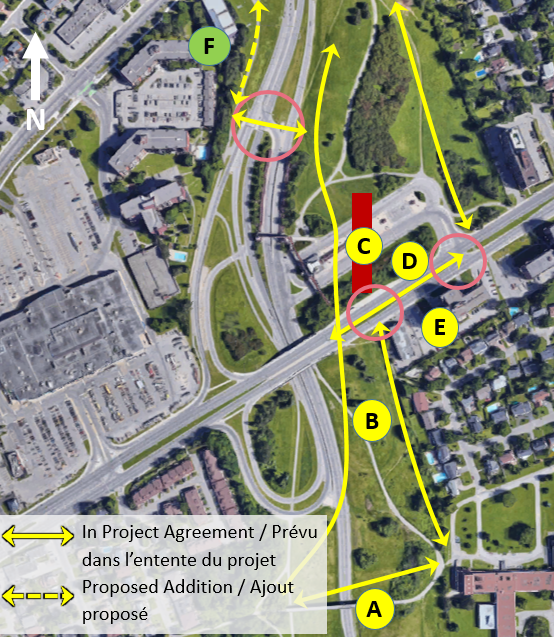 The following images illustrate the connectivity elements planned, proposed and considered as part of the feasibility study.