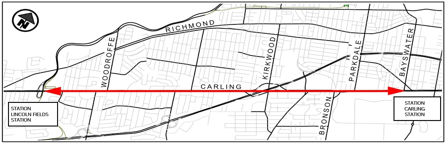An illustration of a map showing the project limits on Carling Avenue between Lincoln Fields station and Carling Station.