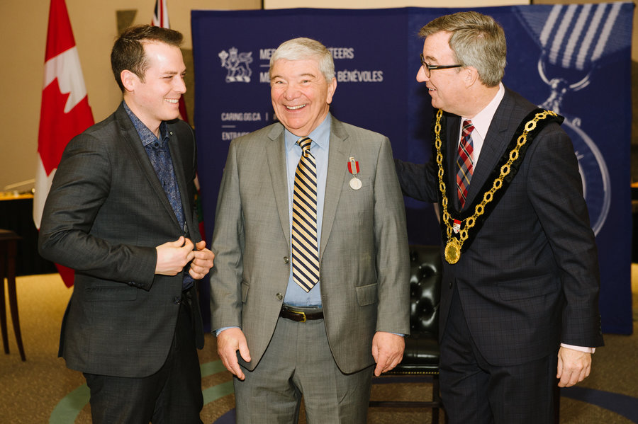 Michael Carroll with Mayor Watson and Councillor Fleury
