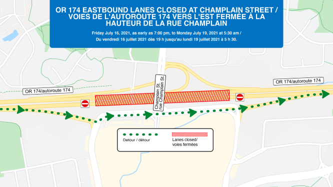 Full closure of OR174 eastbound at Champlain Street.