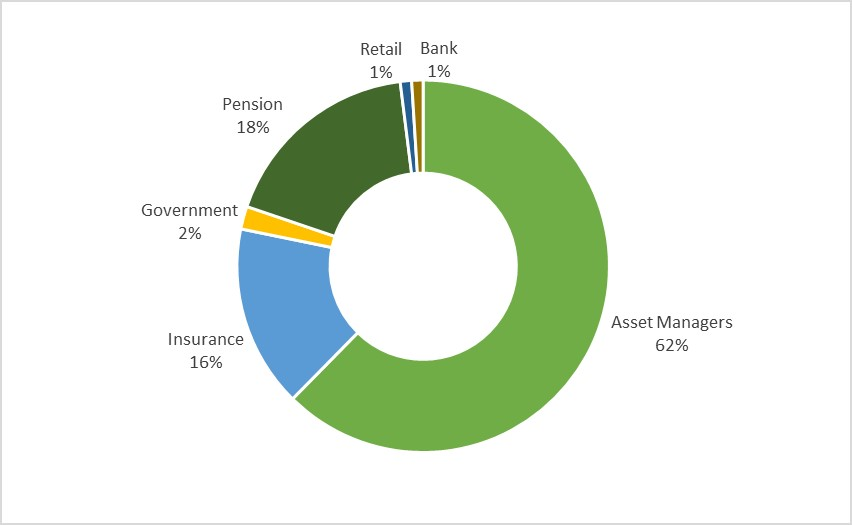 Pie chart showing the 2019 distribution of investor type. Duplicated in table provided.