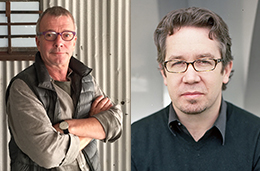 images of two artists, both wearing glasses
