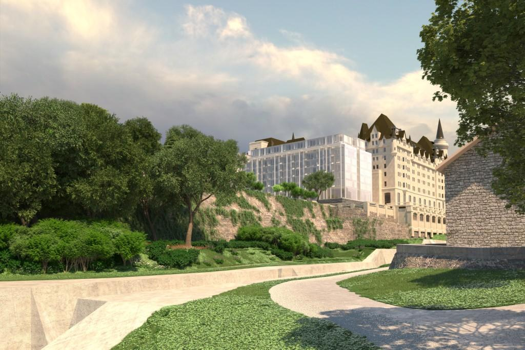 Architectural rendering of the addition to the Chateau Laurier hotel as viewed from the Rideau Canal