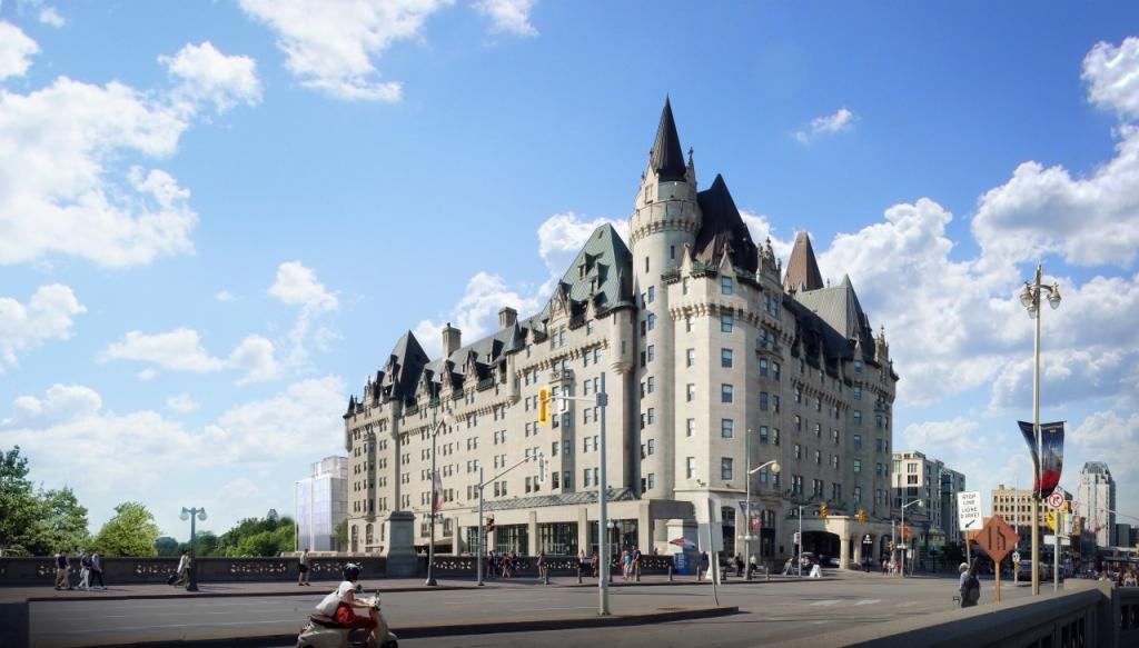 Architectural rendering of the addition to the Chateau Laurier hotel as viewed from theNational War Memorial
