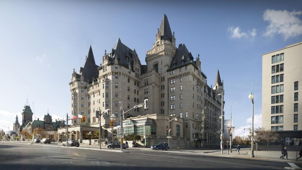 Architectural rendering of the addition to the Chateau Laurier hotel as viewed from the southeast corner of the intersection of Rideau and Mackenzie Avenues