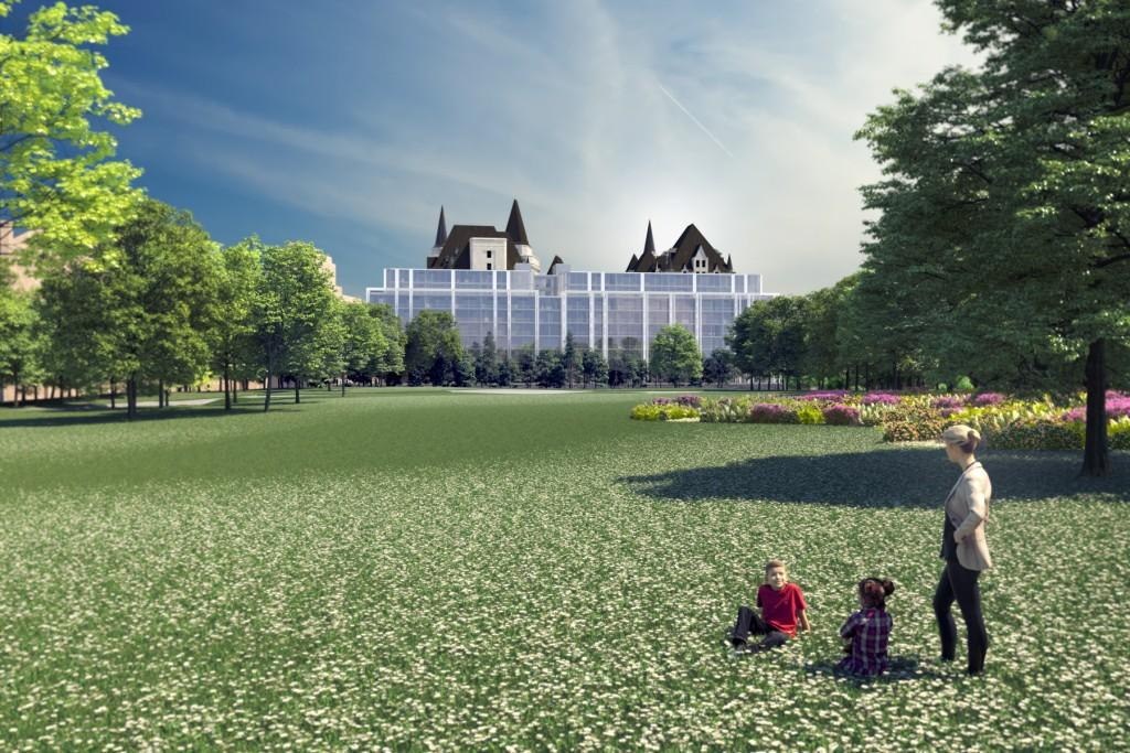 Architectural rendering of the addition to the Chateau Laurier hotel as viewed from the Major's Hill Park