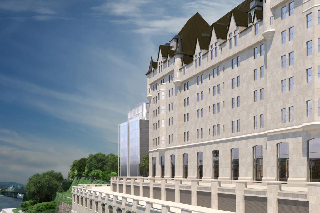 Architectural rendering of the addition to the Chateau Laurier hotel as viewed from Plaza Bridge
