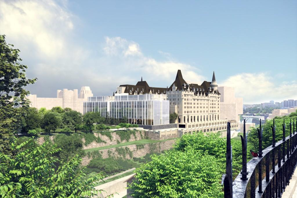 Architectural rendering of the addition to the Chateau Laurier hotel as viewed from the Parliamentary Precinct