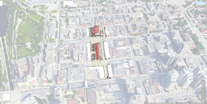 Drawing of pedestrian space around existing market and potential new destination building.