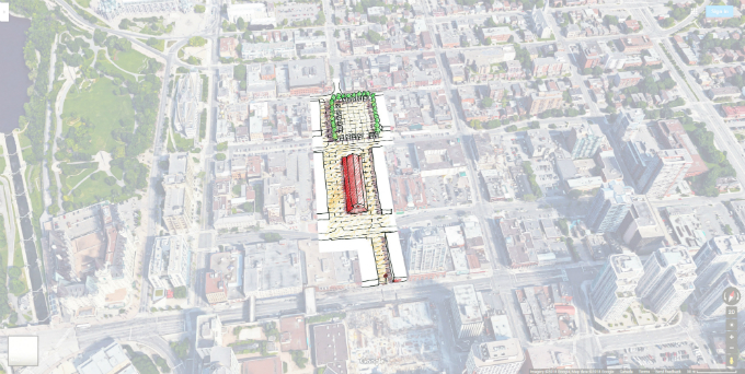 Drawing of pedestrian space around existing market and potential new public gathering space.