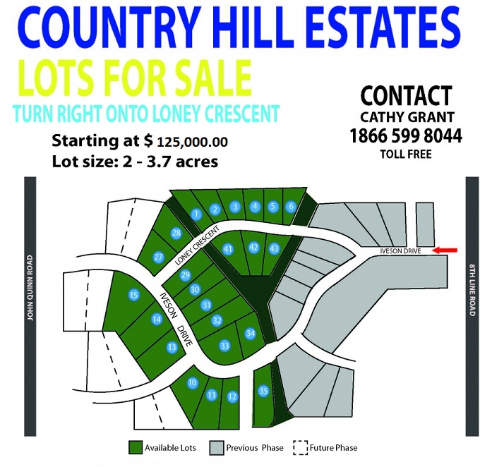 Map of the Country Hill Estates with price $125,000